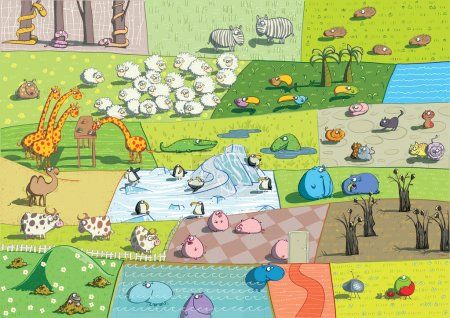 Illustration for ZOO Landscapes is illustration made as a collage of different ecosystems with funny cartoon animals. Illustration is in eps 10 vector mode! - Royalty Free Image