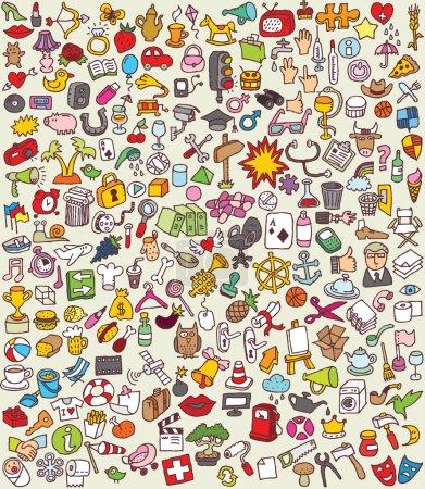Photo pour XXL Doodle Icons Set est une collection de nombreuses petites illustrations dessinées à la main. Chacun est placé dans un groupe séparé (pour le fichier vectoriel uniquement ). - image libre de droit