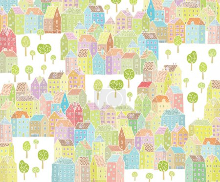Illustration for Vibrant City Illustration with colourful houses, empty space and trees. - Royalty Free Image