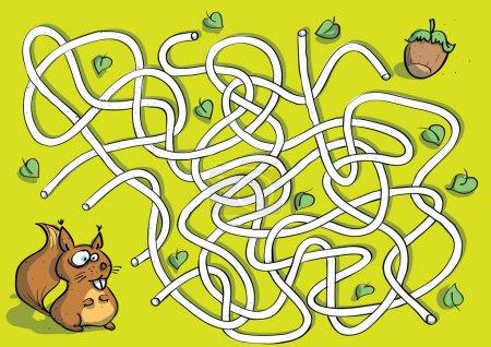 Illustration pour Jeu de labyrinthe écureuil pour enfants. Illustration dessinée à la main en mode vectoriel eps10. Tâche : trouver le bon moyen d'écrou ! - image libre de droit