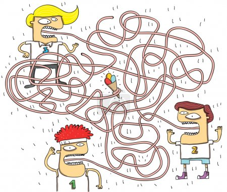 Illustration for Funny Tongue Maze Game for children. Hand drawn illustration in eps10 vector mode. Task: Which boy is holding ice-cream with his tongue? Answer: No. 3 - Royalty Free Image
