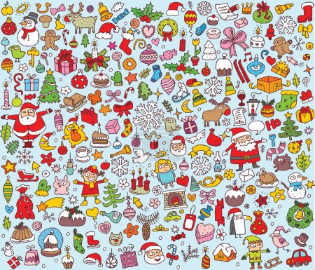 Illustration pour Grande collection de Noël de fines petites illustrations dessinées à la main. Les icônes individuelles sont regroupées uniquement en version vectorielle. L'illustration est en mode vectoriel eps8 ! - image libre de droit