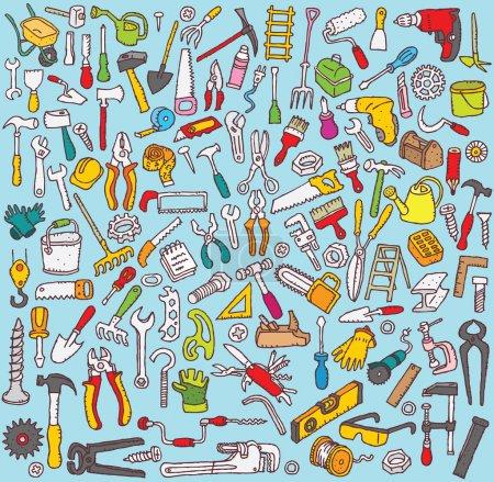 Photo pour Big Tools Collection de nombreuses illustrations fines dessinées à la main. Les icônes individuelles sont regroupées uniquement en version vectorielle. L'illustration est en mode vectoriel eps8 ! - image libre de droit