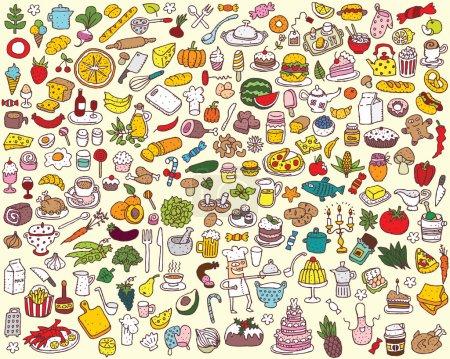 Illustration pour Big Food and Kitchen Collection de fines illustrations dessinées à la main. Les icônes individuelles sont regroupées uniquement en version vectorielle. L'illustration est en mode vectoriel eps8 ! - image libre de droit
