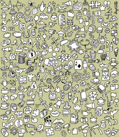 Illustration for XXL Doodle Icons Set is collection of numerous small hand-drawn illustrations in black and white. Illustration is in eps8 vector mode! - Royalty Free Image