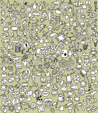 Photo pour XXL Doodle Icons Set est une collection de nombreuses petites illustrations dessinées à la main en noir et blanc. L'illustration est en mode vectoriel eps8 ! - image libre de droit
