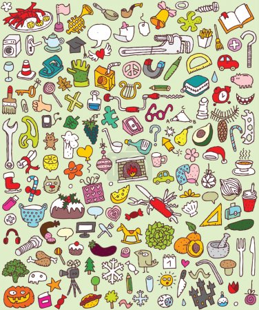 doodle grandes icônes ensemble