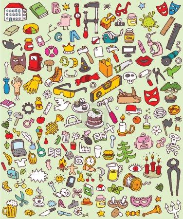 Photo pour Big Doodle Icons Set est une collection de nombreuses petites illustrations dessinées à la main ou des vignettes de différents thèmes. Les icônes individuelles sont regroupées uniquement en version vectorielle ! L'illustration est en mode vectoriel eps8 ! - image libre de droit