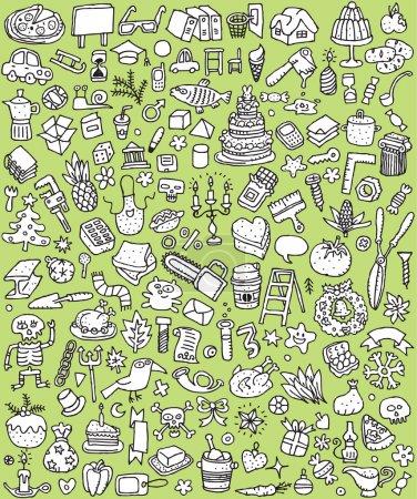 Photo pour Big Doodle Icons Set est une collection de nombreuses petites illustrations dessinées à la main ou des vignettes de différents thèmes en noir et blanc. L'illustration est en mode vectoriel eps8 - image libre de droit