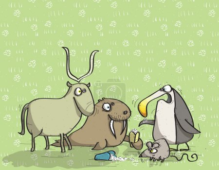 Illustration for Animals Having Fun No.12 on green background. Illustration is in eps10 vector mode - Royalty Free Image