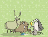 Animals Having Fun No12 on green background Illustration is in eps10 vector mode