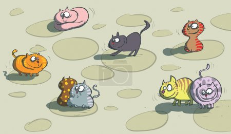 Illustration for Cats on a floor. Illustration is in eps10 vector mode! - Royalty Free Image