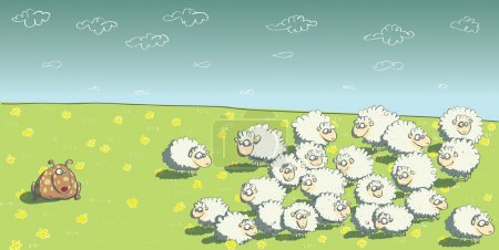 Illustration for Flock of Sheep and Sheepdog. Illustration is in eps10 vector mode! - Royalty Free Image
