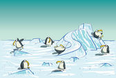 Penguins Having Fun on North Pole
