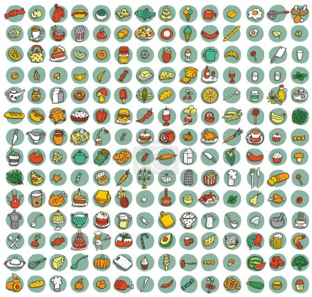 Illustration for Collection of 196 food and kitchen doodled icons (vignette) with shadows, on background, in colours. Individual illustrations are isolated and in eps10 vector mode. - Royalty Free Image