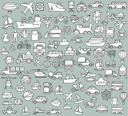 Photo pour Grande collection d'icônes de transport gribouillées en noir et blanc. Les petites illustrations dessinées à la main sont isolées (groupe) et en mode vectoriel eps8 . - image libre de droit