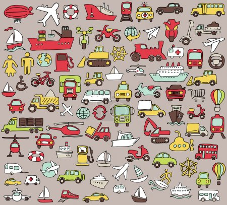 Illustration for Big doodled transportation icons collection in colors. Small hand-drawn illustrations are isolated (group) and in eps8 vector mode. - Royalty Free Image