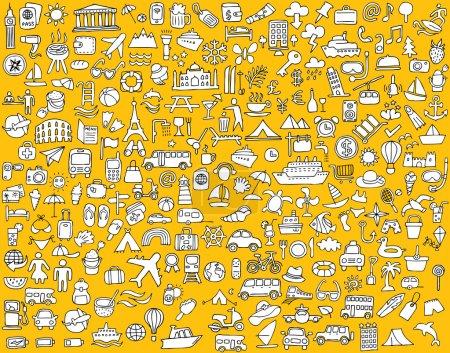 Photo pour Grande collection d'icônes de voyage et de tourisme gribouillées en noir et blanc. Les petites illustrations dessinées à la main sont isolées (groupe) et en mode vectoriel eps8 . - image libre de droit