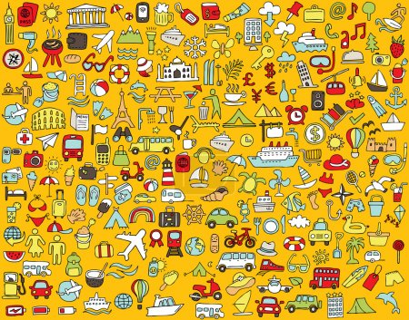 Big doodled travel and tourism icons collection in...