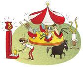 Young people having fun in fun fair