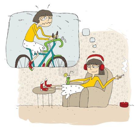 Heureux et paresseux adolescent fille dessin animé avec bulle de pensée