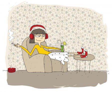 Adolescente fumer et boire dessin animé