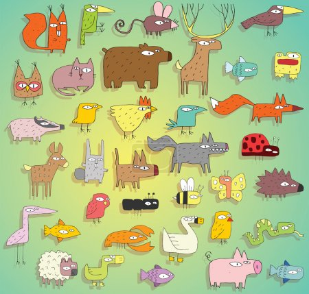 Funny Animals Collection in colours, with outlines and shadows
