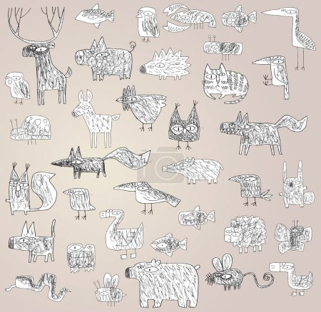 Illustration for Funny Grunge Doodled Animals Collection in black and white, with outlines, on gradient background. Elements are isolated in a group, illustration in eps10 vector mode. - Royalty Free Image