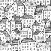 City seamless pattern in balck and white is repetitive texture with hand drawn houses Illustration is in eps8 vector mode