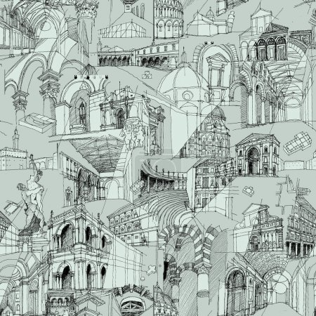 Photo for Historic Italian Architecture Collage is seamless pattern with sketch drawings of monuments. Illustration is in eps8 vector mode. - Royalty Free Image