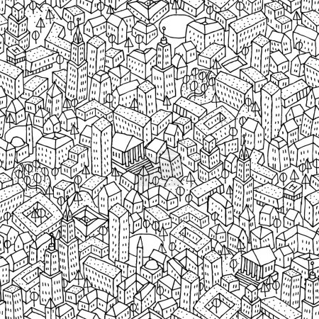 Photo for City seamless pattern is repetitive texture with hand drawn houses. Illustration is in eps8 vector mode. - Royalty Free Image
