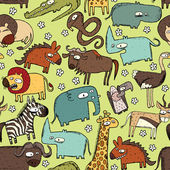 African Animals Collage is seamless pattern with doodle drawings savannah animals Illustration is in eps8 vector mode
