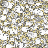 Animals Collage is seamless pattern with doodle drawings of funny animals and objects Illustration is in eps8 vector mode