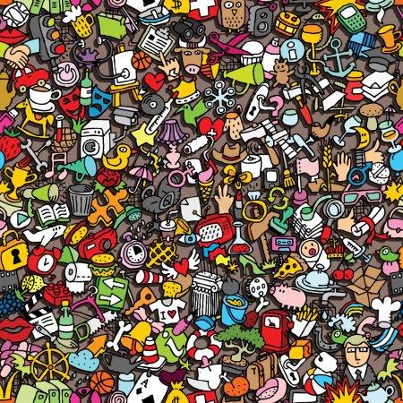 Illustration pour Icônes motif sans couture (répété) avec des dessins mini doodle (icônes). L'illustration est en mode vectoriel eps8 . - image libre de droit