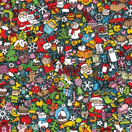 Photo pour Modèle sans couture de Noël (répété) avec des dessins mini doodle (icônes). L'illustration est en mode vectoriel eps8 . - image libre de droit