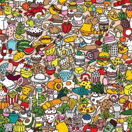 Illustration pour Modèle sans couture alimentaire (répété) avec des dessins mini doodle (icônes). L'illustration est en mode vectoriel eps8 . - image libre de droit