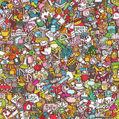 School seamless pattern (repeated) with mini doodle drawings (icons) Illustration is in eps8 vector mode