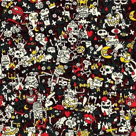 Photo pour Modèle sans couture Halloween (répété) avec des dessins mini doodle (icônes). L'illustration est en mode vectoriel eps8 . - image libre de droit