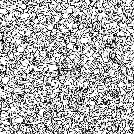 Photo pour Icônes motif sans couture en noir et blanc (répété) avec des dessins mini doodle (icônes). L'illustration est en mode vectoriel eps8 . - image libre de droit