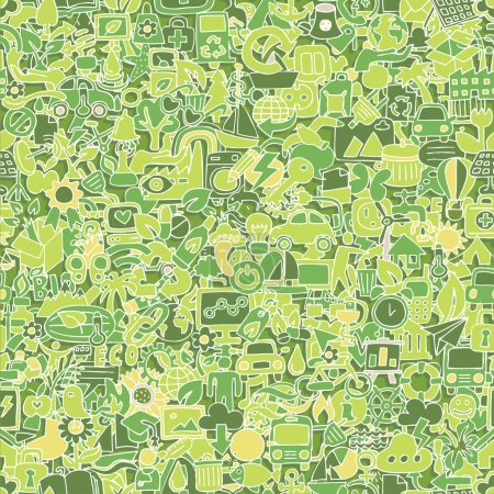 Illustration for Ecology seamless pattern (repeated) with mini doodle drawings (icons). Illustration is in eps8 vector mode. - Royalty Free Image