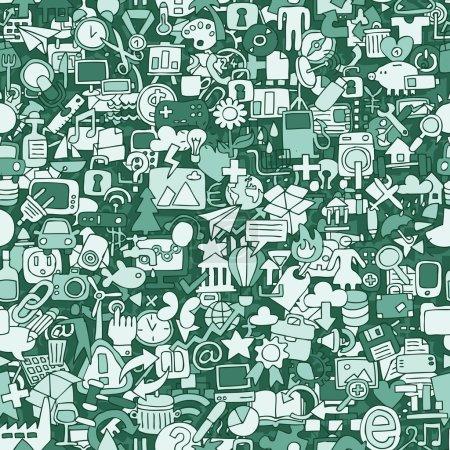 Photo pour Modèle Web sans couture (répété) avec des dessins mini doodle (icônes). L'illustration est en mode vectoriel eps8 . - image libre de droit