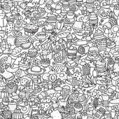 Food seamless pattern in black and white (repeated) with mini doodle drawings (icons) Illustration is in eps8 vector mode