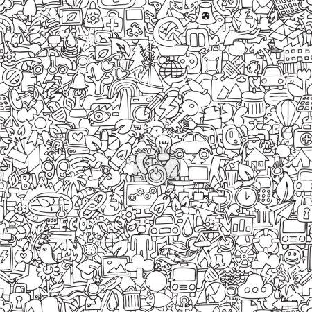 Photo pour Écologie motif sans couture en noir et blanc (répété) avec mini dessins doodle (icônes). L'illustration est en mode vectoriel eps8 . - image libre de droit