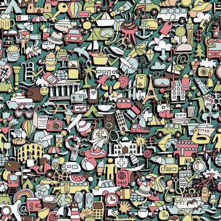 Photo pour Modèle de voyage sans couture (répété) avec des dessins mini doodle (icônes). L'illustration est en mode vectoriel eps8 . - image libre de droit