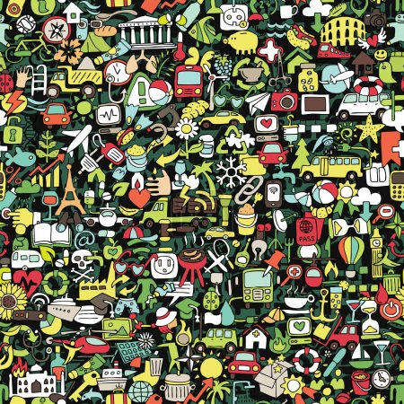 Illustration for Symbels seamless pattern (repeated) with mini doodle drawings (icons). Illustration is in eps8 vector mode. - Royalty Free Image
