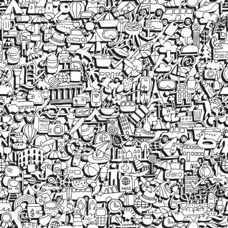 Photo pour Modèle de voyage sans couture en noir et blanc (répété) avec des dessins mini doodle (icônes). L'illustration est en mode vectoriel eps8 . - image libre de droit