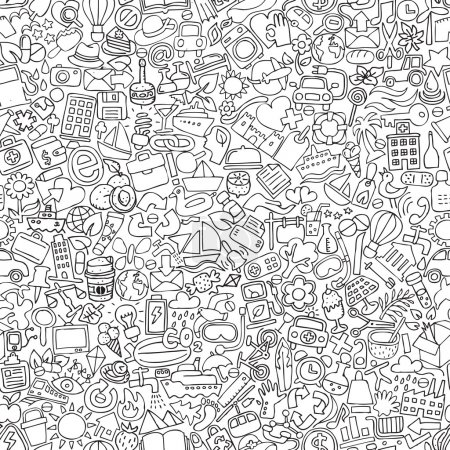 Illustration for Symbols seamless pattern in black and white (repeated) with mini doodle drawings (icons). Illustration is in eps8 vector mode. - Royalty Free Image