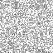 Medicine seamless pattern in black and white (repeated) with mini doodle drawings (icons) Illustration is in eps8 vector mode