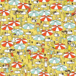 Beach bar seamless pattern with doodled youngsters...
