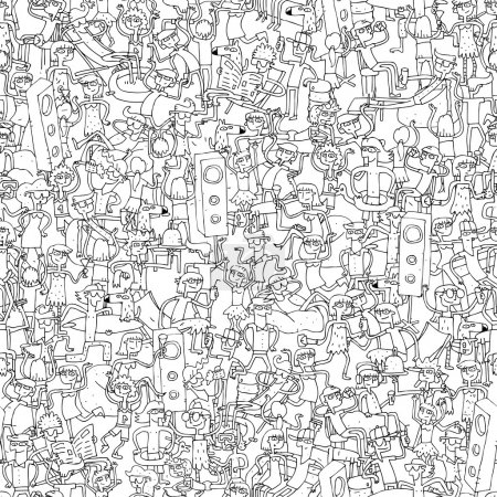 Illustration for Dance party seamless pattern with doodled youngsters having fun in black and white. Illustration is in eps8 vector mode, background on separate layer. - Royalty Free Image